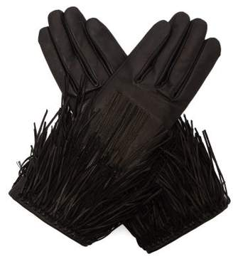 Agnelle Clara Tasselled Leather Gloves - Womens - Black