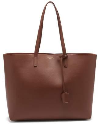 Saint Laurent East West Medium Leather Tote - Womens - Tan