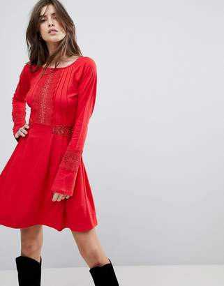 Asos DESIGN Mini skater sundress with lace panels and frill cuffs