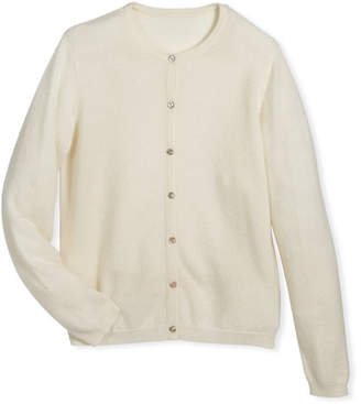 Sofia Cashmere Button-Front Cashmere Cardigan, Size 7-14
