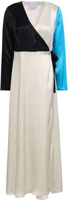 Leone We Are Color-block Silk-satin Maxi Wrap Dress