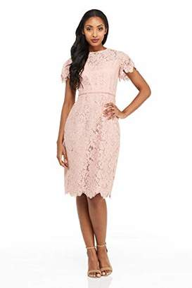 42221025e396 London Times Women s Petite Scallop Edge Short Sleeve LACE MIDI Sheath Dress