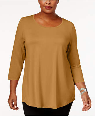 JM Collection Plus Size Scoopneck Top