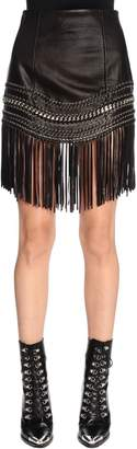 Balmain Fringed Leather Mini Skirt W/ Chain