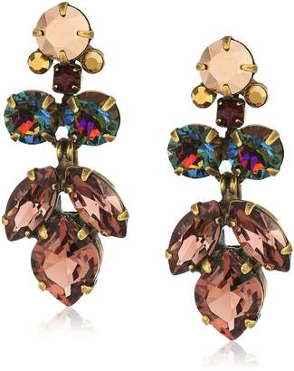 Sorrelli Mahogany Petite Crystal Lotus Flower Drop Earrings