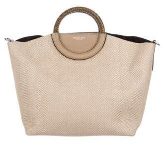 Michael Kors Straw Leather-Trimmed Tote