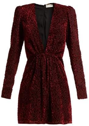 Saint Laurent Plunge Neck Velvet Devore Mini Dress - Womens - Burgundy