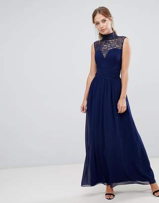 Little Mistress high neck maxi dress with gathered bust and gold foiled lace yoke
