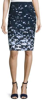Jil Sander Navy Pixelated Pencil Skirt