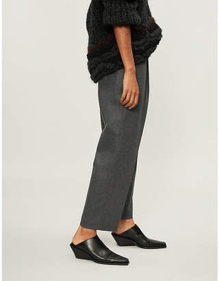 Acne Studios Tailored-fit cropped wool-blend trousers