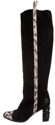 Alexa Wagner Snakeskin-Trimmed Knee-High Boots