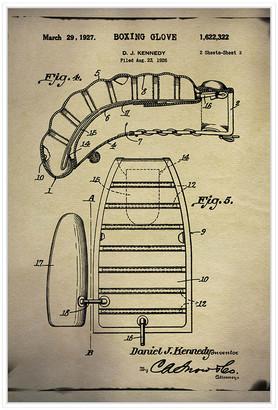 Jonathan Bass Studio Boxing Glove Patent 2 Buff, Decorative Framed Hand