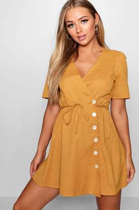 boohoo Elva Short Sleeve Tie Waist Button Front Dress