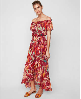 Express floral off the shoulder fit and flare maxi dress