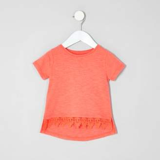 River Island Mini girls coral crochet hem T-shirt