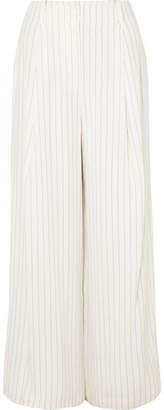 Rachel Zoe Lee Pinstriped Crepe Wide-leg Pants - White