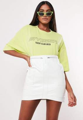 Missguided White Faux Leather Curved Hem Mini Skirt