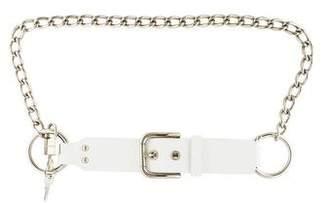 Dolce & Gabbana Leather-Trimmed Chain-Link Belt