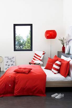 Lacoste Twin Brushed Twill Duvet Set - Rococco Red