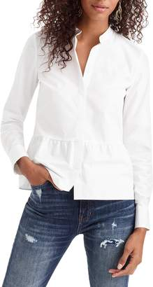 J.Crew Stretch Button-Up Peplum Shirt