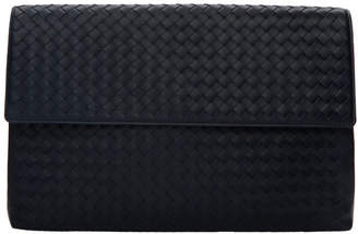 Bottega Veneta Navy Intrecciato Document Holder
