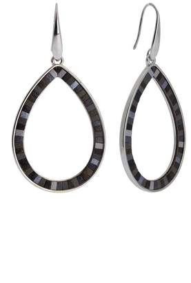 Saachi Whimsy Leather Inlay Open Teardrop Earrings
