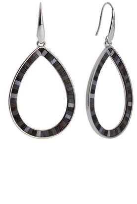 Saachi Whimsy Leather Inlay Open Teardrop Earrings
