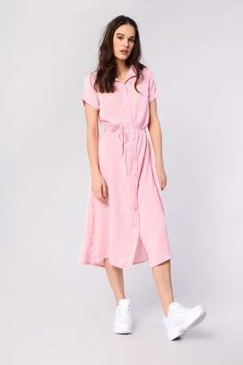Glamorous Womens **Tie Waist Mid Maxi Shirt Dress By Pink