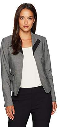 Calvin Klein Women's Petite Menswear Jacket with Collar and Piped Pockets