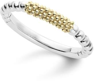 Lagos Caviar Icon 18K Gold and Sterling Silver Bead Bar Stacking Ring