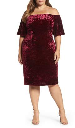 Eliza J Off the Shoulder Velvet Sheath Dress