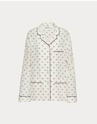 Valentino Mini Vlogo Crepe De Chine Pajama Shirt