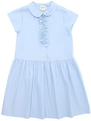 Gucci Cotton Poplin Dress With Ruffle