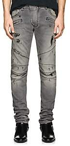 Pierre Balmain MEN'S SKINNY BIKER JEANS - LIGHT GRAY SIZE 34