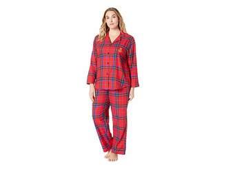 Lauren Ralph Lauren Plus Size Brushed Twill Long Sleeve Classic Notch Collar Pajama Set