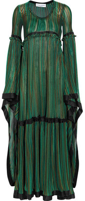 Striped Silk Satin-trimmed Stretch-knit Gown - Green