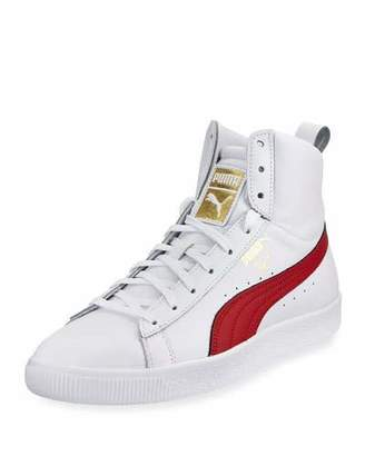 Puma Clyde Mid Core High-Top Leather Sneaker, White/Red