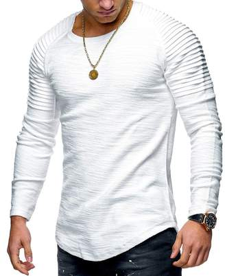 bfc60f6f0f1 SHOWNO Mens Bottoming Shirt Casual Round Neck Pure Color Slim Fit Pleated Long  Sleeve T-