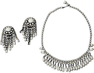 One Kings Lane Vintage Milk Glass Earrings & Necklace Set