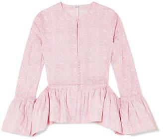 Loewe Cutout Floral-print Cotton-poplin Peplum Blouse - Baby pink