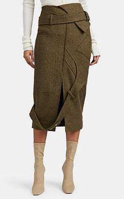 "Altuzarra Women's ""Driftwood"" Belt-Detailed Wool Skirt - Olive"