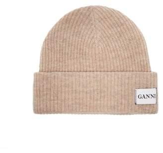 Ganni Hatley Wool Blend Beanie Hat - Womens - Beige