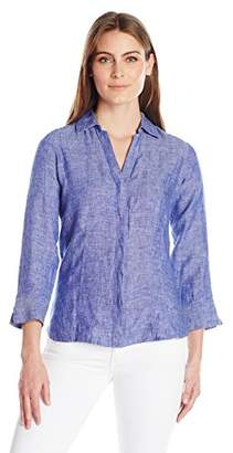 Foxcroft Women's 3/4 Sleeve Taylor Chambray Linen Shirt