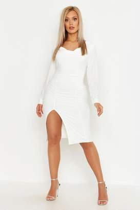 34f7226ce65 boohoo Plus Double Slinky Cowl Neck Midi Dress
