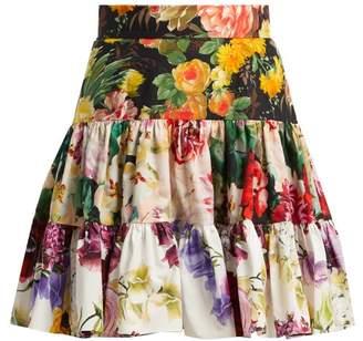 Dolce & Gabbana Floral Print Cotton Poplin Mimi Skirt - Womens - Multi