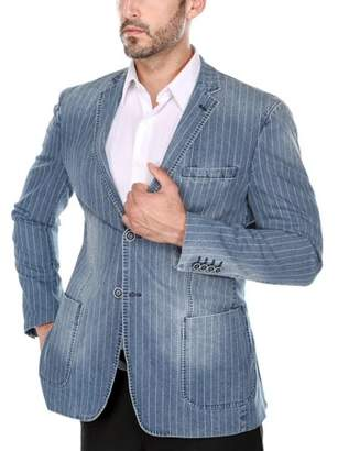 Verno Men's Distressed Indigo Pinstriped Denim Slim Fit Italian Styled Blazer