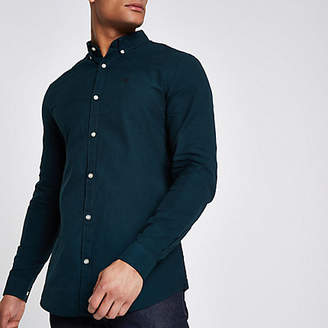 River Island Bottle green wasp embroidered Oxford shirt