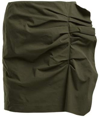 Isabel Marant Lefly Asymmetric Ruffle Mini Skirt - Womens - Dark Green