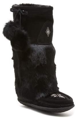 Manitobah Mukluks Classic Tall Suede Genuine Rabbit Fur & Genuine Sheepskin Footbed Mukluk Crepe