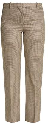 Givenchy Micro Check Wool Trousers - Womens - Brown Multi